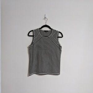 Modern Black White Striped Shell Top